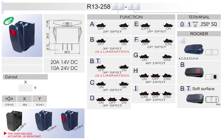 R13) Rocker Switch / Car Switches / Bentex on