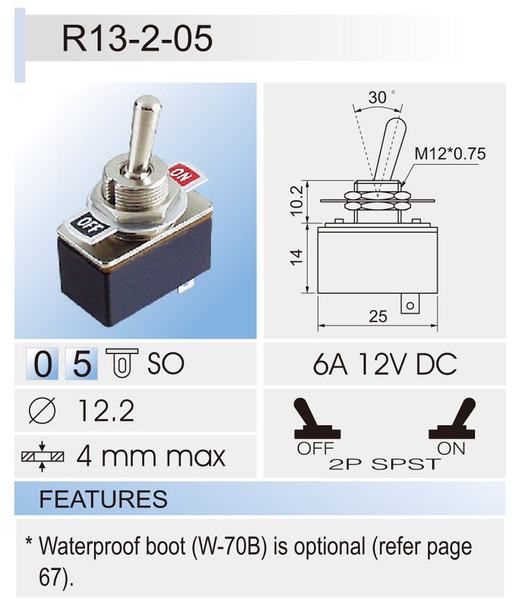 R13 Toggle Switch Car Switches Bentex